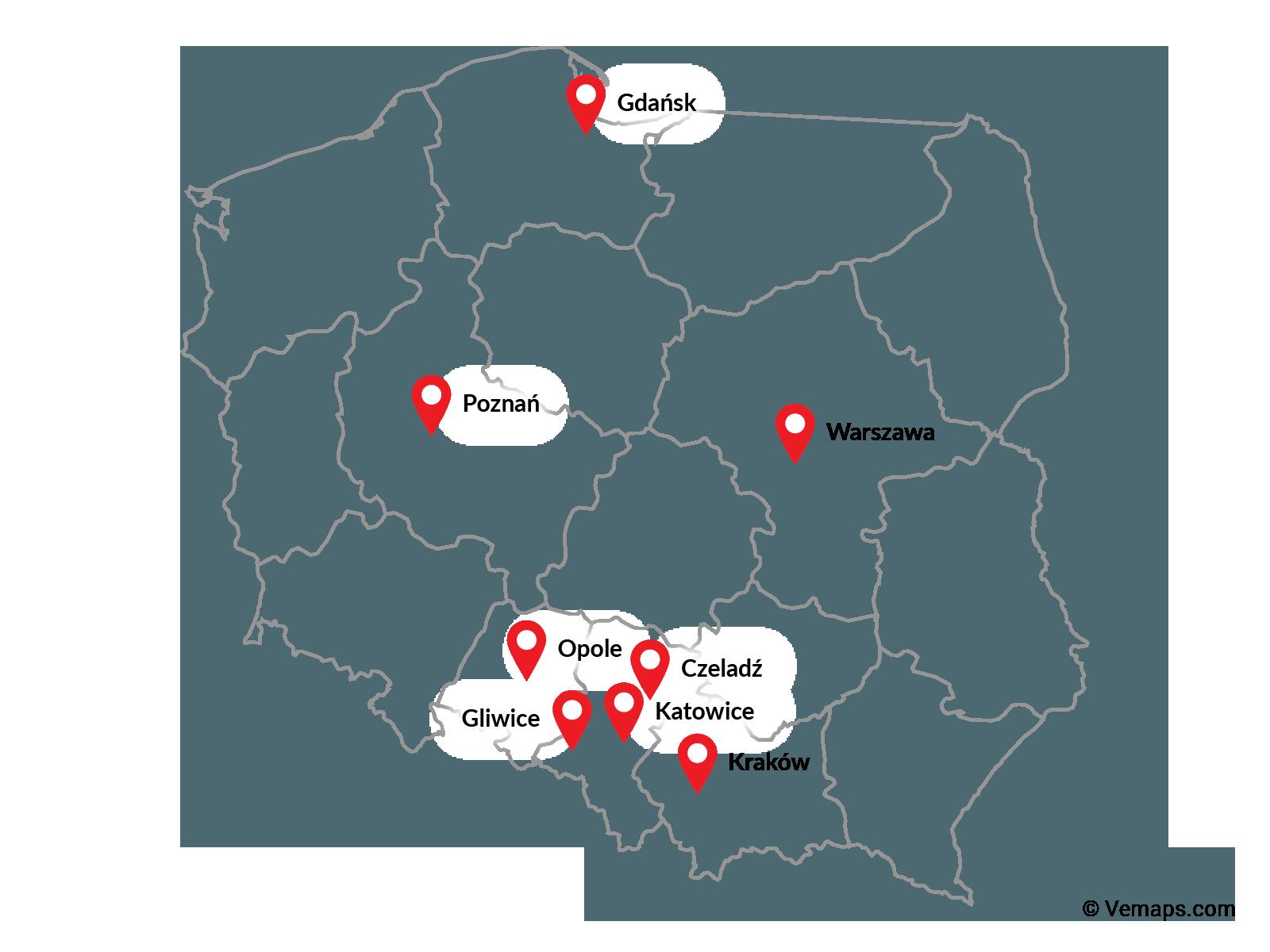 Mapa Polski z lokalizacjami